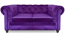 Canapé Chesterfield 2 places velours violet British