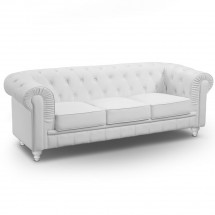 Canapé Chesterfield 3 places imitation cuir blanc