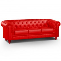 Canapé Chesterfield 3 places imitation cuir rouge