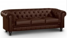 Canapé Chesterfield 3 places imitation cuir marron British