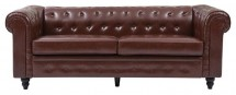 Canapé Chesterfield 3 places similicuir marron Bristo