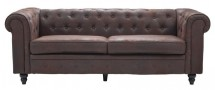 Canapé Chesterfield 3 places tissu microfibre marron Bristo