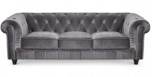 Canapé Chesterfield 3 places velours argent British