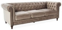 Canapé chesterfield 3 places velours beige Velvet