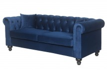 Canapé Chesterfield 3 places velours bleu British