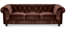 Canapé Chesterfield 3 places velours marron British