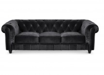 Canapé Chesterfield 3 places velours noir British