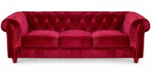 Canapé Chesterfield 3 places velours rouge British
