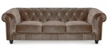 Canapé Chesterfield 3 places velours taupe British