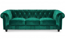 Canapé Chesterfield 3 places velours vert British