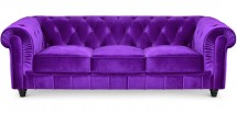 Canapé Chesterfield 3 places velours violet British