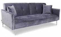 Canapé convertible 3 places velours gris Mindy