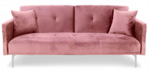 Canapé convertible 3 places velours rose Mindy