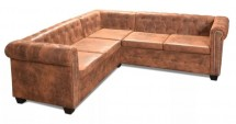 Canapé d'angle 5 places Chesterfield simili cuir marron Cathia