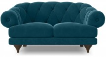 Canapé ultra confortable Velours bleu Chesterfield