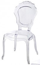 Chaise baroque polycarbonate transparent Loby - Lot de 4