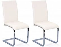 Chaise simili blanc Danna - Lot de 2