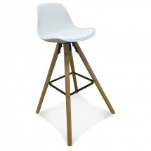 Chaise de bar scandinave blanc Keny - Lot de 2