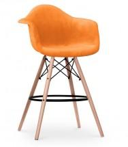 Chaise De Bar Tissu Orange Et Pieds Bois Clair Inspire DAW