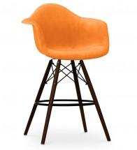 Chaise De Bar Tissu Orange Et Pieds Bois Fonce Inspiree DAW