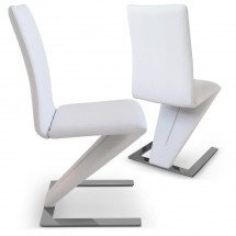 Chaise design simili blanc Vogue - Lot de 2