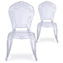 Chaise Plexi transparent King - Lot de 2