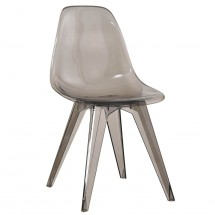 Chaise polycarbonate transparent fumé Evasy - Lot de 4