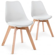Chaise blanche style scandinave Orna - Lot de 2