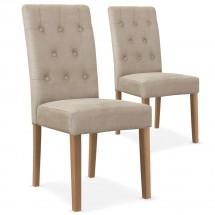 chaises tissu beige ccilia lot de 2