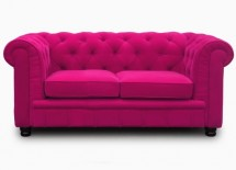 Canapé Chesterfield 2 places Velours Rose Elégance