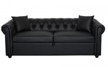 Chesterfield convertible simili cuir noir 3 places
