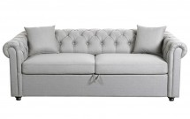 Chesterfield convertible tissu gris clair 3 places