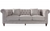 Chesterfield tissu gris clair 3 places Contemporain