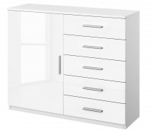 Commode 1 porte 5 tiroirs blanc brillant Bello