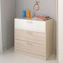 Commode 3 tiroirs beige et blanc Marly