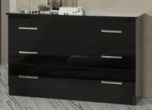 3e227c162077a Commode 3 tiroirs bois brillant noir Mona ...