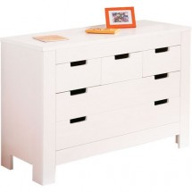 Commode 5 tiroirs pin massif blanc Karro