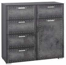 Commode 5 tiroirs 1 porte Style industriel Graphite Work