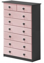 Commode 6 + 2 Pin massif Gris et Rose Aladin