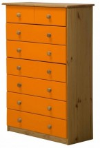 Commode 6 + 2 Pin massif Miel et Orange Aladin