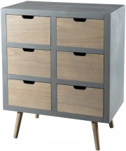 Commode 6 tiroirs pin massif clair et gris Mika