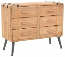 Commode 6 tiroirs pin massif Stylie