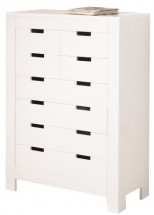 Commode 8 tiroirs pin massif blanc Karro