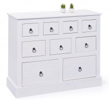 Commode 9 tiroirs pin massif blanc Prince