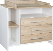 Commode à langer 3 tiroirs pin naturel et blanc Eco Plus