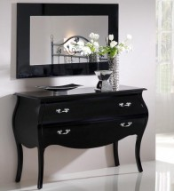 Commode 2 tiroirs design noir brillant Marsus