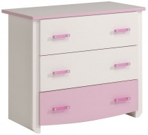 Commode enfant 3 tiroirs blanche et rose Betty