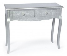 Console 2 tiroirs argent kaly