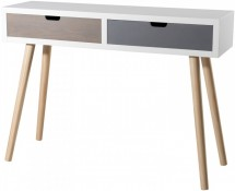 Console 2 tiroirs pin massif blanc gris beige Milly