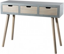 Console 3 tiroirs pin massif clair et gris Mika